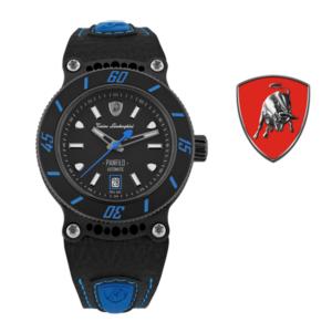 Relógio Lamborghini® Panfilo Date Black Blue TLF-T03-4 - Swiss Made Automático - Titânio