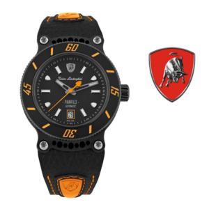 Relógio Lamborghini® Panfilo Date Orange TLF-T03-3 - Swiss Made Automático - Titânio