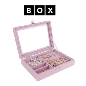 Caixa de Arrumação para Jóias Rosa   Acabamento Premium   PD124