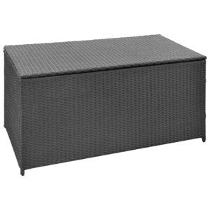 Caixa de arrumação para jardim 120x50x60 cm vime PE preto - PORTES GRÁTIS