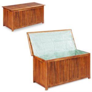 Caixa arrumação para jardim 117x50x58 cm madeira acácia maciça - PORTES GRÁTIS
