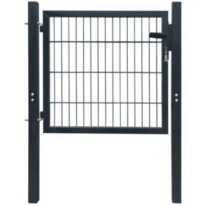 2 D portão de cerca (simples), antracite cinzento, 160 x 130 cm - PORTES GRÁTIS