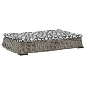 Cama cães + almofadão 95x65x15cm salgueiro design liso cinza - PORTES GRÁTIS