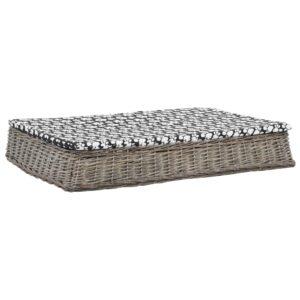 Cama cães + almofadão 110x75x15cm salgueiro design liso cinza - PORTES GRÁTIS