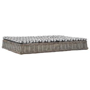 Cama cães + almofadão 125x80x15cm salgueiro design liso cinza - PORTES GRÁTIS