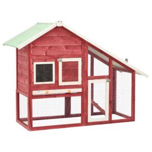 Coelheira 140x63x120 cm madeira abeto maciça vermelho e branco - PORTES GRÁTIS