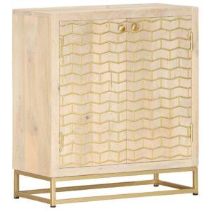 Aparador 60x30x70 cm madeira de mangueira maciça dourado - PORTES GRÁTIS