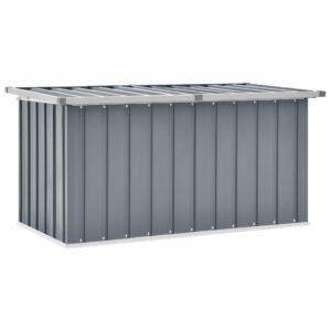 Caixa de arrumação para jardim 129x67x65 cm cinzento - PORTES GRÁTIS