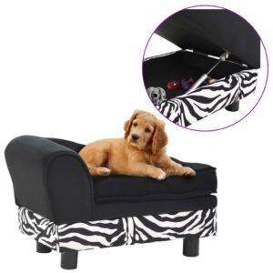 Sofá para cães 57x34x36 cm pelúcia preto - PORTES GRÁTIS