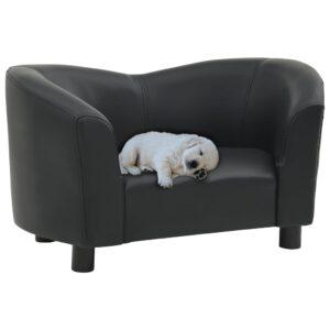 Sofá para cães 67x41x39 cm couro artificial preto - PORTES GRÁTIS