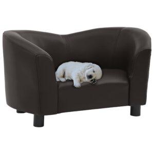 Sofá para cães 67x41x39 cm couro artificial castanho - PORTES GRÁTIS