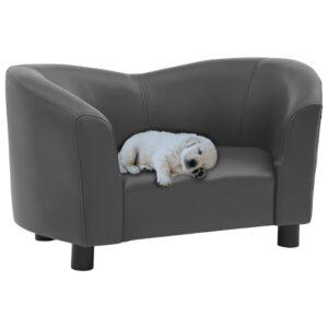 Sofá para cães 67x41x39 cm couro artificial cinzento - PORTES GRÁTIS