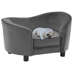 Sofá para cães 69x49x40 cm pelúcia e couro artificial cinzento - PORTES GRÁTIS
