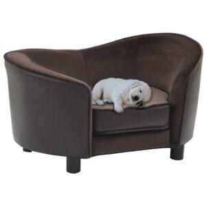 Sofá para cães 69x49x40 cm pelúcia e couro artificial castanho - PORTES GRÁTIS