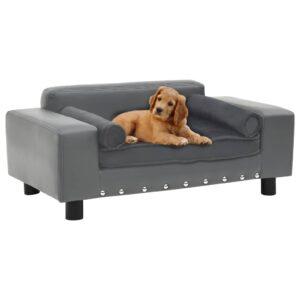 Sofá para cães 81x43x31 cm pelúcia e couro artificial cinzento - PORTES GRÁTIS