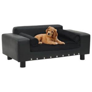Sofá para cães 81x43x31 cm pelúcia e couro artificial preto - PORTES GRÁTIS
