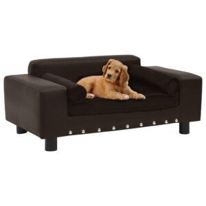 Sofá para cães 81x43x31 cm pelúcia e couro artificial castanho - PORTES GRÁTIS