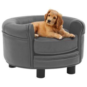 Sofá para cães 48x48x32 cm pelúcia e couro artificial cinzento - PORTES GRÁTIS