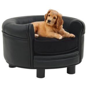 Sofá para cães 48x48x32 cm pelúcia e couro artificial preto - PORTES GRÁTIS
