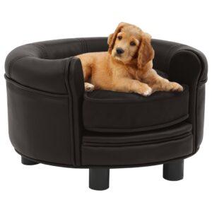 Sofá para cães 48x48x32 cm pelúcia e couro artificial castanho - PORTES GRÁTIS