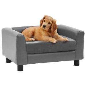 Sofá para cães 60x43x30 cm pelúcia e couro artificial cinzento - PORTES GRÁTIS