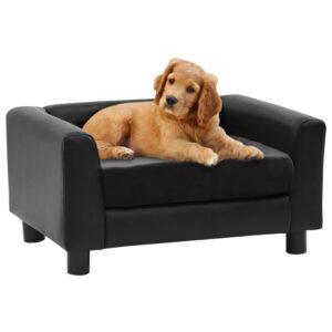 Sofá para cães 60x43x30 cm pelúcia e couro artificial preto - PORTES GRÁTIS