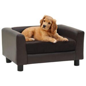 Sofá para cães 60x43x30 cm pelúcia e couro artificial castanho - PORTES GRÁTIS