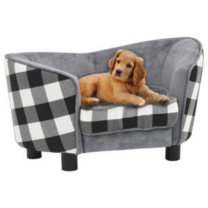 Sofá para cães 68x38x38 cm pelúcia cinzento - PORTES GRÁTIS