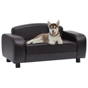 Sofá para cães 80x50x40 cm couro artificial castanho - PORTES GRÁTIS