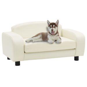 Sofá para cães 80x50x40 cm couro artificial branco nata - PORTES GRÁTIS