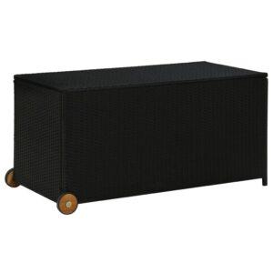 Caixa de arrumação para jardim 130x65x115 cm vime PE preto - PORTES GRÁTIS