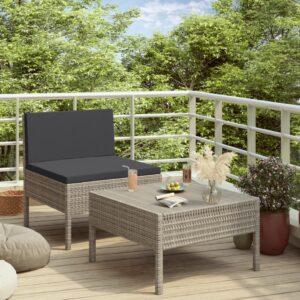 2 pcs conjunto lounge de jardim c/ almofadões vime PE cinzento - PORTES GRÁTIS