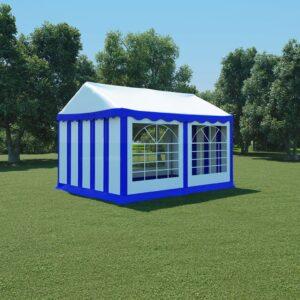 Tenda de jardim PVC 3x4 m azul e branco - PORTES GRÁTIS