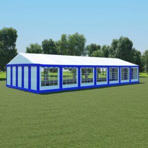 Tenda de jardim PVC 6x14 m azul e branco - PORTES GRÁTIS
