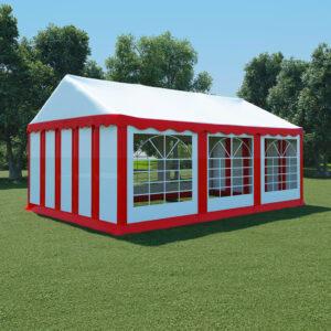 Tenda de jardim PVC 4x6 m vermelho e branco - PORTES GRÁTIS