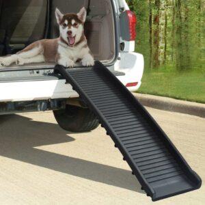 Rampa para cães dobrável 155,5x40x15,5 cm preto - PORTES GRÁTIS