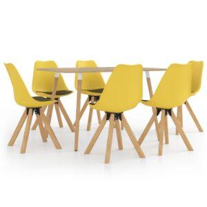 7 pcs conjunto de jantar amarelo e preto - PORTES GRÁTIS