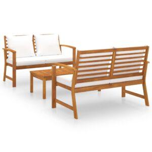 3 pcs conjunto de lounge de jardim com almofadões acácia maciça - PORTES GRÁTIS