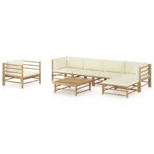 7 pcs conj. lounge p/ jardim em bambu c/ almofadões branco nata - PORTES GRÁTIS