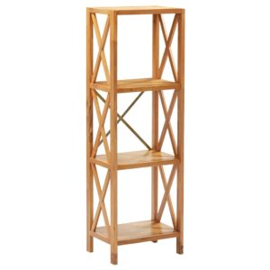 Estante com 4 prateleiras 40x30x125 cm madeira carvalho maciça  - PORTES GRÁTIS