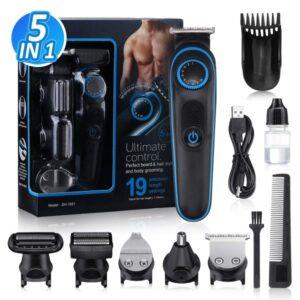 Aparador de Cabelo-Máquina de Barbear GLAMADOR 5 in 1 USB Preto/Azul (Refurbished A+)