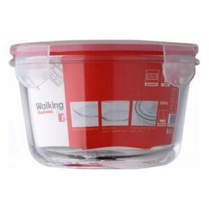 Lancheira Bergner Vermelho Silicone Vidro de Borosilicato 500 ml