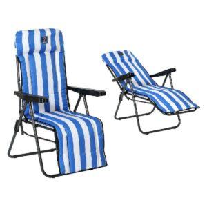 Espreguiçadeira de praia Aço Azul / Branco (77 x 58 x 106 cm)
