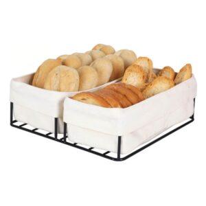 Cesta do Pão Preta 2 Cestas 100 % algodão (24 x 23 x 7 cm)