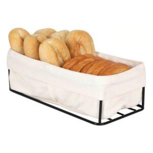 Cesta do Pão Preta 2 Cestas 100 % algodão (23 x 12 x 7 cm)