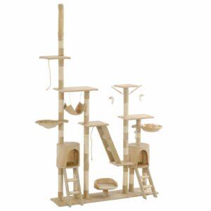 Árvore para gatos c/ postes arranhadores sisal 230-250 cm bege - PORTES GRÁTIS