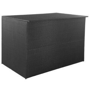 Caixa de arrumação para jardim 150x100x100 cm vime PE preto - PORTES GRÁTIS