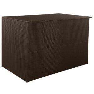 Caixa de arrumação para jardim 150x100x100 cm vime PE castanho - PORTES GRÁTIS