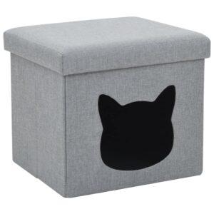 Ninho para gatos dobrável linho artificial 37x33x33 cm cinzento - PORTES GRÁTIS