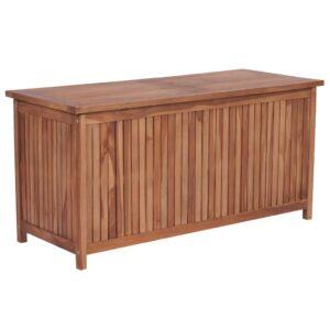 Caixa arrumação para jardim 120x50x58 cm madeira teca maciça - PORTES GRÁTIS